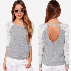 Long Sleeve Lace Crochet T-Shirt - Uniqistic.com