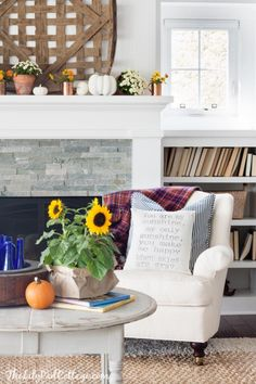 Sunflower fall home decor and love the tobacco basket over the mantel