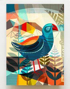 New Zealand, native Takahe bird, Nz Art, Bird Artwork, Mural Wall Art, Wall Art For Sale, Tropical Art, Diy Arts And Crafts, Painting Inspiration, Pet Birds, Illustrations Posters