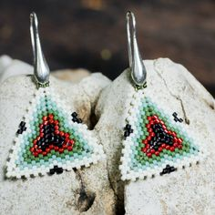 white and green beaded earring with stunning Japanese Miyuki beads and sterling silver hardware