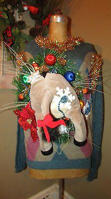 UGLY Christmas Sweater shrek OH Donkey….Hey Donkey w/lights butt BIG sz XL<3<3SOLD<3<3