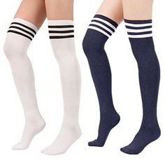 5cdbd7afa4dad Zando Women Girls Over Knee Striped Cotton Socks Stocking Triple Tube Long Thigh  High Tights Soft Casual Sock