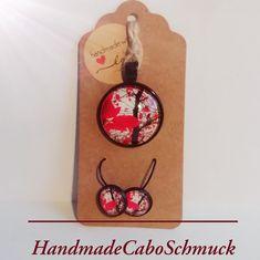 Cabochon Schmuckset, Blätter rot, 12mm Ohrringe, Ohrhänger, 25mm Kettenanhänger, schwarze Fassung
