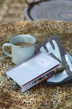 gardeners notebook gardening gloves and mug in allium bloom design available from wwwannabeljamescouk