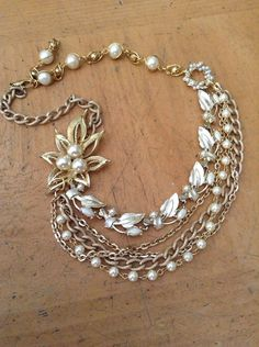 Upcycled vintage goldtone multi layered Pearl Assemblage Necklace,Statement,OOAK,Repurposed,Wedding,Bride on Etsy, $74.00
