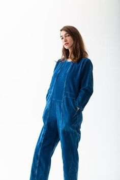 ACE JUMPSUIT | INDIGO CORDUROY – CARON CALLAHAN Corduroy, Vintage Shops, Indigo, Style Me, Pajama Pants, Jumpsuit, Mens Fashion, Fabric, Sleeves