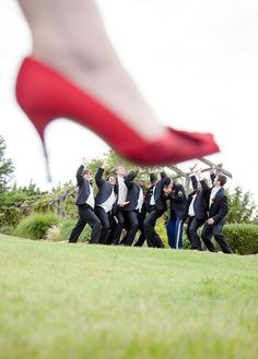 "Bridal Party Photo - fun wedding picture idea as a bridedmaid (or the bride) ""crushes"" the groom & groomsmen.  -LRE"