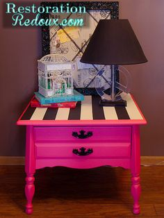 pink nightstand with black and white stripes, painted furniture