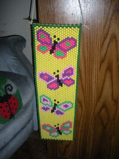 Colorful Butterfly Banner by TatntolesTradingPost on Etsy Pony Bead Crafts, Beaded Crafts, Beading Tutorials, Beading Patterns, Beaded Banners, Pony Beads, Loom Weaving, Kandi, Seed Beads