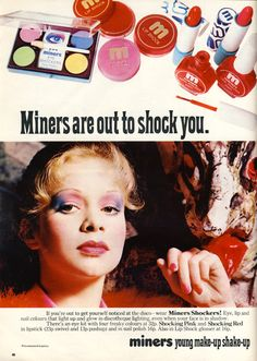 Vintage Advert for Miners Cosmetics from Honey, December featuring Jo Wood 1960s Makeup, Vintage Makeup Ads, Vintage Nails, Retro Makeup, Vintage Beauty, Vintage Glamour, Retro Advertising, Retro Ads, Vintage Advertisements