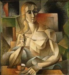 jean metzinger(1883-1956), tea time (woman with a teaspoon), 1911. oil on cardboard, 75.9 x 70.2 cm. philadelphia museum of art, pennsylvania, usa