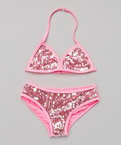 Loving this Kensie Girl Neon Pink Sequin Bikini - Girls on #zulily! #zulilyfinds