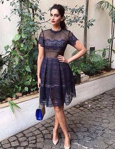 Sonam Kapoor never fails to impress us - whether she is draped in sari, gown or a LBD. Well, again Sonam Kapoor stuns us in a short naked dress. Indian Celebrities, Bollywood Celebrities, Bollywood Fashion, Bollywood Actress, Sheer Dress, Lace Dress, Dress Up, Stylish Dresses, Nice Dresses
