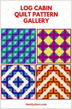 Quilters, here's some Log Cabin inspiration for you: six patterns made entirely from classic Log Cabin blocks. Log Cabin Patchwork, Log Cabin Quilt Pattern, Log Cabin Quilts, Barn Quilts, Quilt Block Patterns, Quilt Blocks, Cute Quilts, Mini Quilts, Scrappy Quilts