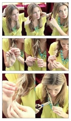 Get rid of split ends by twisting locks of hair and snipping the ones you see sticking out. 27 DIY Beauty Hacks Every Girl Should Know Diy Beauty Hacks, Beauty Tutorials, Makeup Hacks, Beauty Hacks Every Girl Should Know, Coiffure Hair, Braid Hair, Hair Locks, Split Ends, Tips Belleza