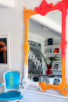 neon multi-color baroque mirror, paint your colors. I love this interior design! It's a great idea for home decor. Home design. Painted Furniture, Diy Furniture, Sweet Home, Mirror Painting, Mirror Mirror, Baroque Mirror, Giant Mirror, Painting Art, Mirror Bedroom