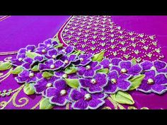 This video teaches you how to do a easy embroidery work with both aari embroidery and machine embroidery. Cutwork Blouse Designs, Wedding Saree Blouse Designs, Fancy Blouse Designs, Designs For Dresses, Hand Embroidery Videos, Aari Embroidery, Hand Work Embroidery, Hand Embroidery Designs, Hand Work Blouse Design