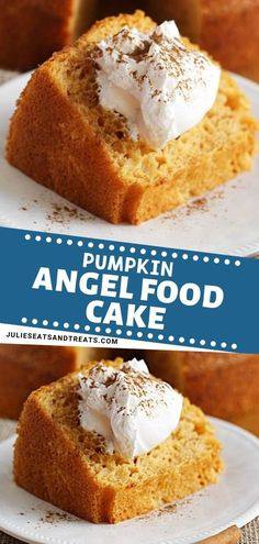Pumpkin Angel Food Cake ~ The perfect quick and easy fall recipe for a crowd! This Pumpkin Angel Food Cake is light and airy with a hint of pumpkin. Top it with Cool Whip sprinkled with cinnamon and you have the best fall dessert treat! Save this pin! Fall Desserts, Just Desserts, Delicious Desserts, Dessert Recipes, Thanksgiving Desserts, Dessert Party, Dessert Food, Cool Whip, Angel Food Cake