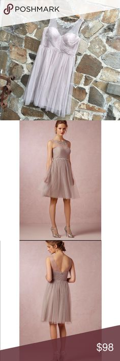 """Jenny Yoo Collection Chloe Dress Mink Gray 16 An ultra-ethereal creation from Jenny Yoo, this sweetheart dress features delicate lace applique at the illusion neckline and a romantic tulle skirt inspired by Parisian ballerinas. Back zip and hook-and-eye closure. Nylon tulle; polyester lining. Dry clean. Imported.  A BHLDN exclusive Falls 26.5"""" from natural waist Sparkled Skinny Sash is sold separately. In excellent condition. A few tiny pulls but barely noticeable. Bridesmaid, Prom…"""