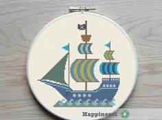 cross stitch pattern pirate ship boat PDF instant by Happinesst