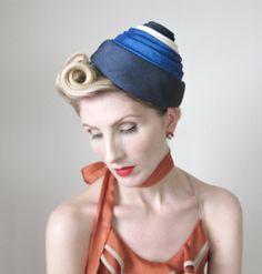 1940's Hat, VINTAGE, Fascinator, Pin up, Avant Garde, BOMBSHELL, 1950's Hat, WWII