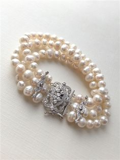 Pearl Strand Rhinestone Bracelet -   Mahlia Lisette Bridal #weddingjewelry #jewelry #bridal #bridalaccessories #pearls #bride #bridaljewellery $64.00