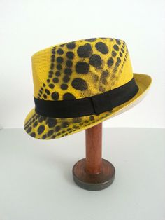 Yellow Spots - Unisex statement painted braid fedora trilby hat in bright yellow with black dot patterning