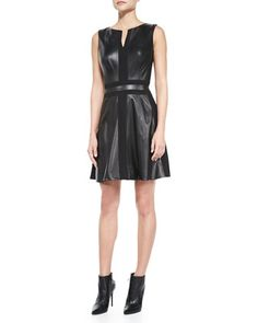 Sleeveless+Fit-and-Flare+Leather+Dress+by+Vakko+at+Neiman+Marcus.