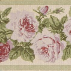 Border with Roses and Leaves - Antique Wallpaper Rolls Antique Wallpaper, Original Wallpaper, Make Your Own, Make It Yourself, How To Make, Shabby, Rose Leaves, Flower Food, Borders For Paper