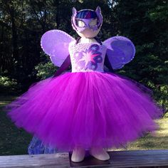 Ready to ship....My Little Pony Princess Twilight Sparkle tutu costume with matching mask and wings. The body of the tutu-dress is double