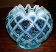 Fenton Blue Opalescent Diamond Optic Rose Bowl