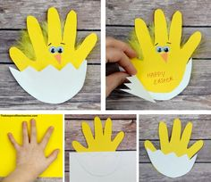 Easter chick handprint card