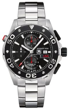 TAG Heuer Aquaracer Limited Edition Team USA $2,895 #TAGHeuer #watch #watches #chronograph steel case steel bracelet automatic movement waterproof up to 500m/1500ft