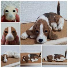 needle felted Beagle - Ideal World Needle Felted Cat, Needle Felting Kits, Needle Felting Tutorials, Needle Felted Animals, Wet Felting, Felt Animals, Felt Dogs, Felt Cat, Felt Fairy