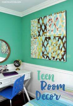 #FrogTape saved the day when repainting my daughter's wall and creating a cool modern art wall art!