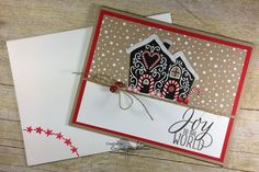 Tin Of Tags-JOY TO THE WORLD!! Stampin' Up! Chickstamper--click on photo for supplies & tip for the Fine-Tip Glue Pen :) Tin Of Tags, Candy Cane Lane, Mini Jingle Bells, Wink of Stella.