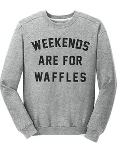 """Unisex """"Weekend Are For Waffles"""" Fitted Crewneck by Pyknic (Grey)"""