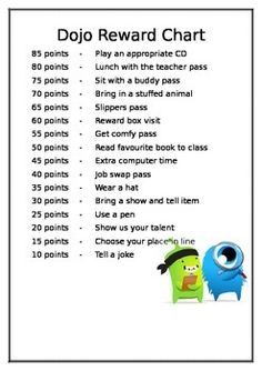A price list where children can save their DOJO points up and trade them for a reward. Children have the option of cashing in early or saving for a more popular reward. Dojo Rewards, Classroom Rewards, Classroom Ideas, Behavior Management, Classroom Management, School Art Projects, School Ideas, Dojo Points, Class Dojo