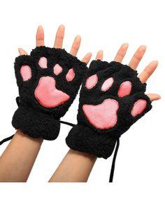 b8a9b719ad5 Women Winter Cute Cat Paw Fingerless Mitten Gloves - Black - CY12MANDVHT