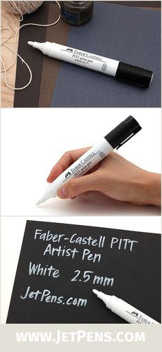 The large 2.5 mm Faber-Castell PITT White Artist Pen is great for artists, illustrators, and calligraphers due to its pigmented India ink that is fade-resistant and water-resistant.