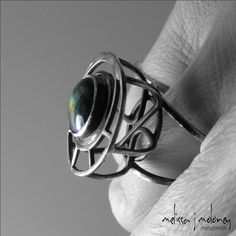 Spectrolite and Sterling Silver Caged Cocktail Ring $588.00