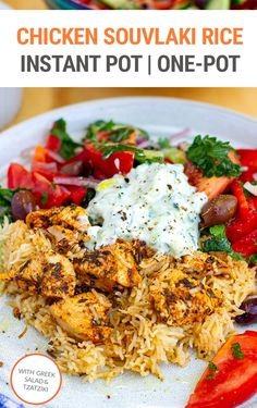 Learn how to make delicious chicken souvlaki rice with this one-pot Instant Pot recipe. Served with Greek salad and tzatziki yogurt cucumber sauce, this is a healthy dinner meal for the whole family. Make sure to save this to your must-try Instant Pot chicken recipes collection One Pot Dishes, Greek Dishes, One Pot Rice Meals, Instant Pot Dinner Recipes, Healthy Dinner Recipes, One Pot Recipes, Chicken Recipes For Dinner, Healthy Instapot Recipes, Healthy One Pot Meals