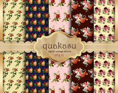 Rose digital paper : Shabby Chic Papers vol 2 by quakasupapers
