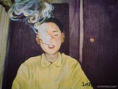#doodle#drawing#그림#낙서#수채화연습#필터카메라 #담배연기 필카느낌을내보고싶엇는데...색감이안나온다 그림이안그려져우아ㅓㅓ어ㅏ