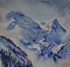 Morning Light , Mont Blanc Painted in watercolours by Jane Ward Spending time in Chamonix, enjoying watching the light change on the magnificent Mont Blanc. I filled my sketchbook with many … Watercolor Images, Watercolor Canvas, Watercolor Landscape, Landscape Paintings, Watercolor Paintings, Watercolors, Winter Landscape, Mountain Landscape, Mountain Drawing