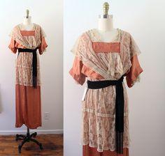 Edwardian Gown / Crinkled Rose Gown / Vintage by CaramelVintage