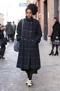 Cipriana Quann Cipriana Quann, Bold Fashion, Fashion Forward, Crushes, Normcore, High Neck Dress, Plaid, Street Style, Urban