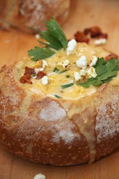 Beer Cheese Soup in a Bread Bowl, wow! Totally not good for the body, but maybe the soul....