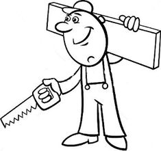 Worker with wrench coloring page. Black and white cartoon illustration of man worker or workman screw down a bolt with wrench for children to coloring book. Black And White Cartoon, Pencil Drawings, Coloring Pages, Vector Free, Illustration, Super, Design, Mandalas, Patterns