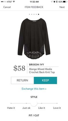 Brixon Ivy Merge Mixed Media Crochet Back Knit Top Stitch Fix fall 2016